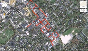 biking in downtown Blacksburg 300x174 Can You Bike on the Sidewalks in Blacksburg?