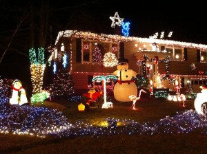 Houses decorated crazy for Christmas