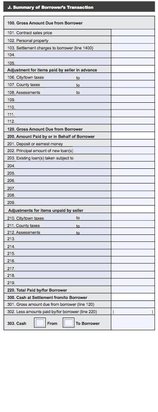 Borrowers Summary HUD-1
